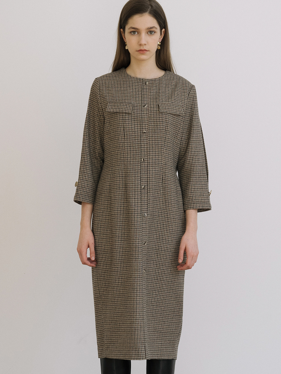 monts 1214 wool check dress